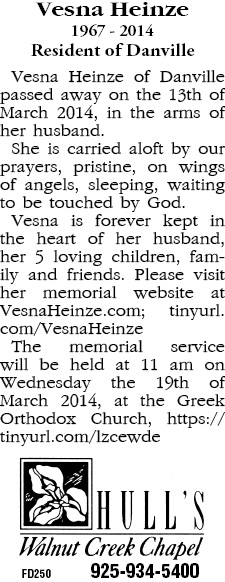 Vesna's Memorial Announcement